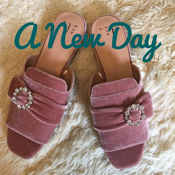 79e45401d1d3 a new day Shoes - Blush Velvet Slide Sandals by A New Day - NWOT